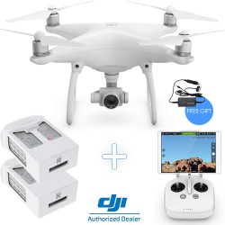 DJI Phantom 4 Camera Drone with two additional Intelligent Flight Batteries + Free Car Charger Kit